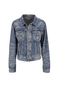 Trucker jacket in denim with bear print