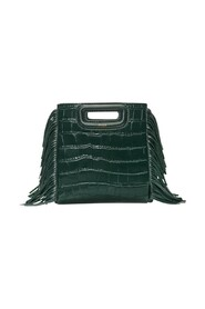 Mini croco effect leather bag with fringes
