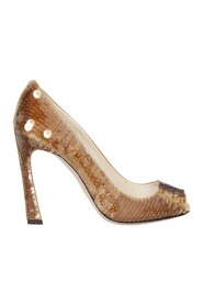 Pre-owned Sequined Peep Toe Pumps