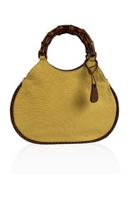 Yellow Canvas Small Bamboo Tote Bag Handbag