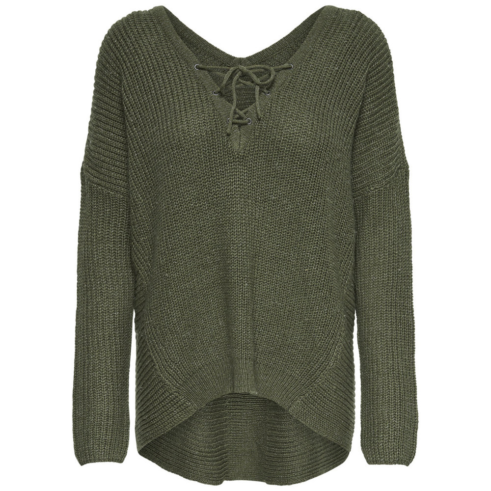 Knitted Pullover Lace-up