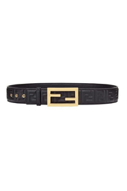 Monogram embossed buckle belt