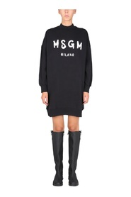 DRESS WITH BRUSHED LOGO PRINT