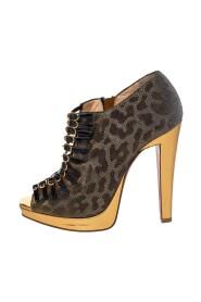 Leopard Print Lurex Fabric Manon Peep Toe Ankle Boots