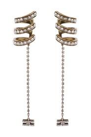 Earcuff earrings with pendant rhinestones