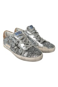 Leather GOLDEN GOOSE sneakers with silver rhinestone
