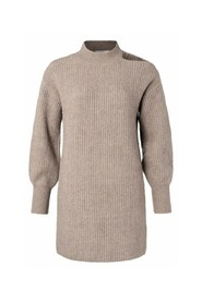 Knitted blend dress with puff sleeves