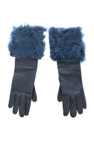 Leather Fur Logo Wrist Gloves