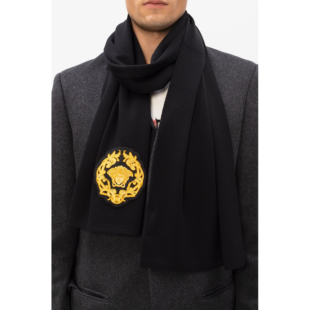 Black Scarf with logo | Versace | Sjaals | Heren accessoires