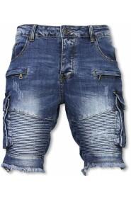 Korte Broek - Slim Fit Biker Denim Pocket Jeans