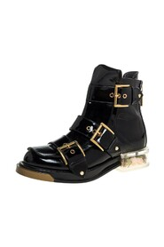 Patent Leather Flower Detail Three Buckle Boots