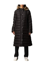 Lang dunjakke med hætte og aftagelig pels lukning med dobbelt-skyderen lynlås og knapper