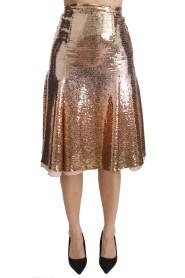 Sequined High Waist Midi Skirt