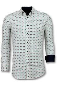 Heren Overhemden Slim Fit - Tetris Motief Heren Hemd
