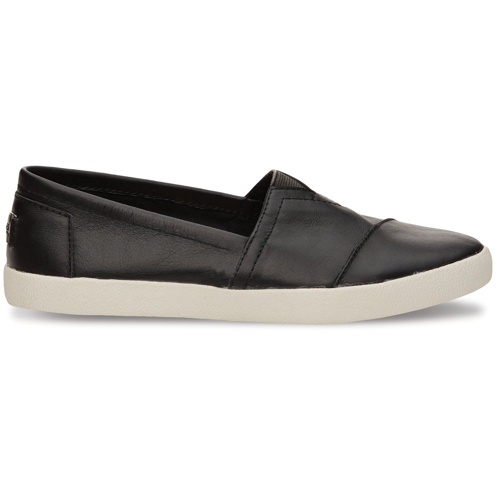 Black Leather Toms Avalon Slip-On