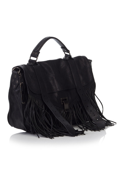 Proenza Schouler Vintage Pre-owned Black Leather Fringe Ps1 Torby - Czarny