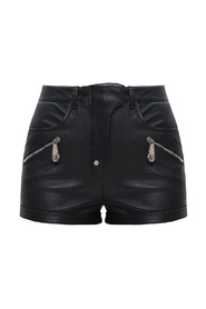 Leather shorts with logo