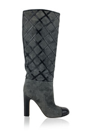 Suede Quilted Knee High Boots