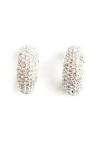 Pre-owned Chrystal silver tone earrings