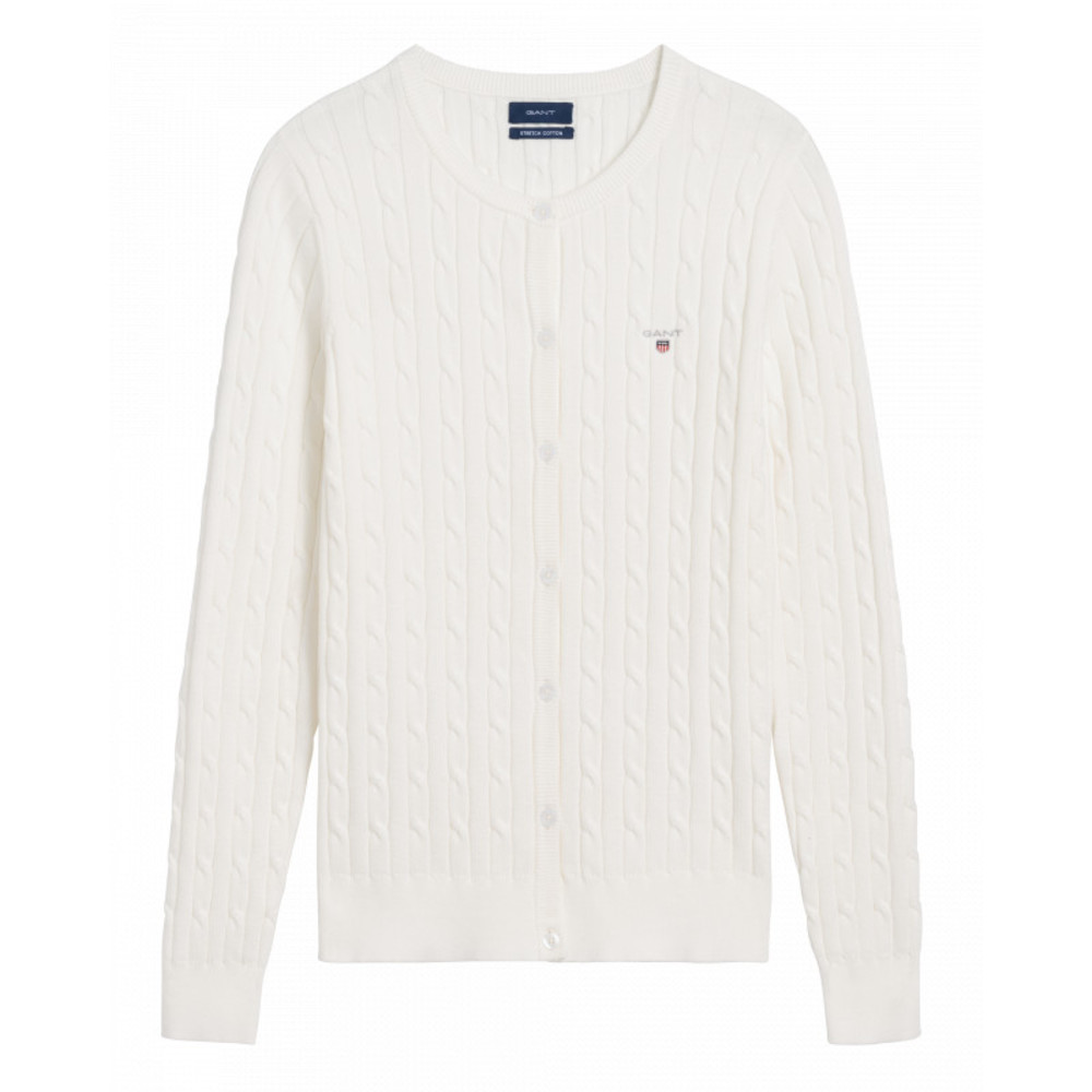 STRETCH CABLE CREW CARDIGAN