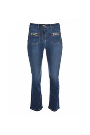 Jeansy typu mini flare ze złotymi uchwytami