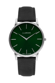 OLIVER - Steel watch Coal leather