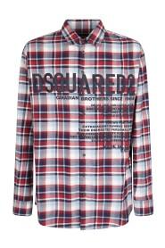 logo-print flannel shirt