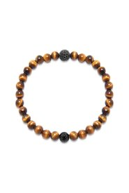 Wristband with Tiger Eye and CZ Diamond