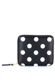 Wallet in black leather and polka dots