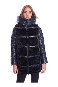 LONG DOWN JACKET WITH FUR AND HOOD