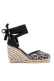 Carina spotted canvas and fabric wedge sandal.