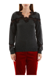 Pullover with lace inserts
