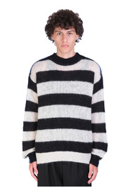 Striped wool and mohair blen sweater with raw edges