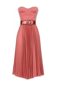PLEATED LAME DRESS WITH CIN