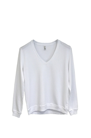 Hvit Ink Anita College Sweater V Neck  White Genser
