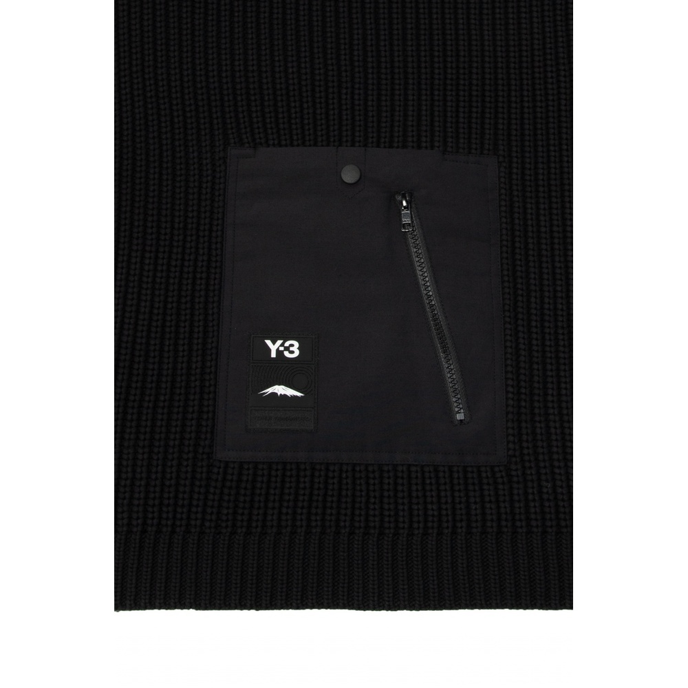 Black Scarf with pockets | Y-3 | Sjaals | Heren accessoires