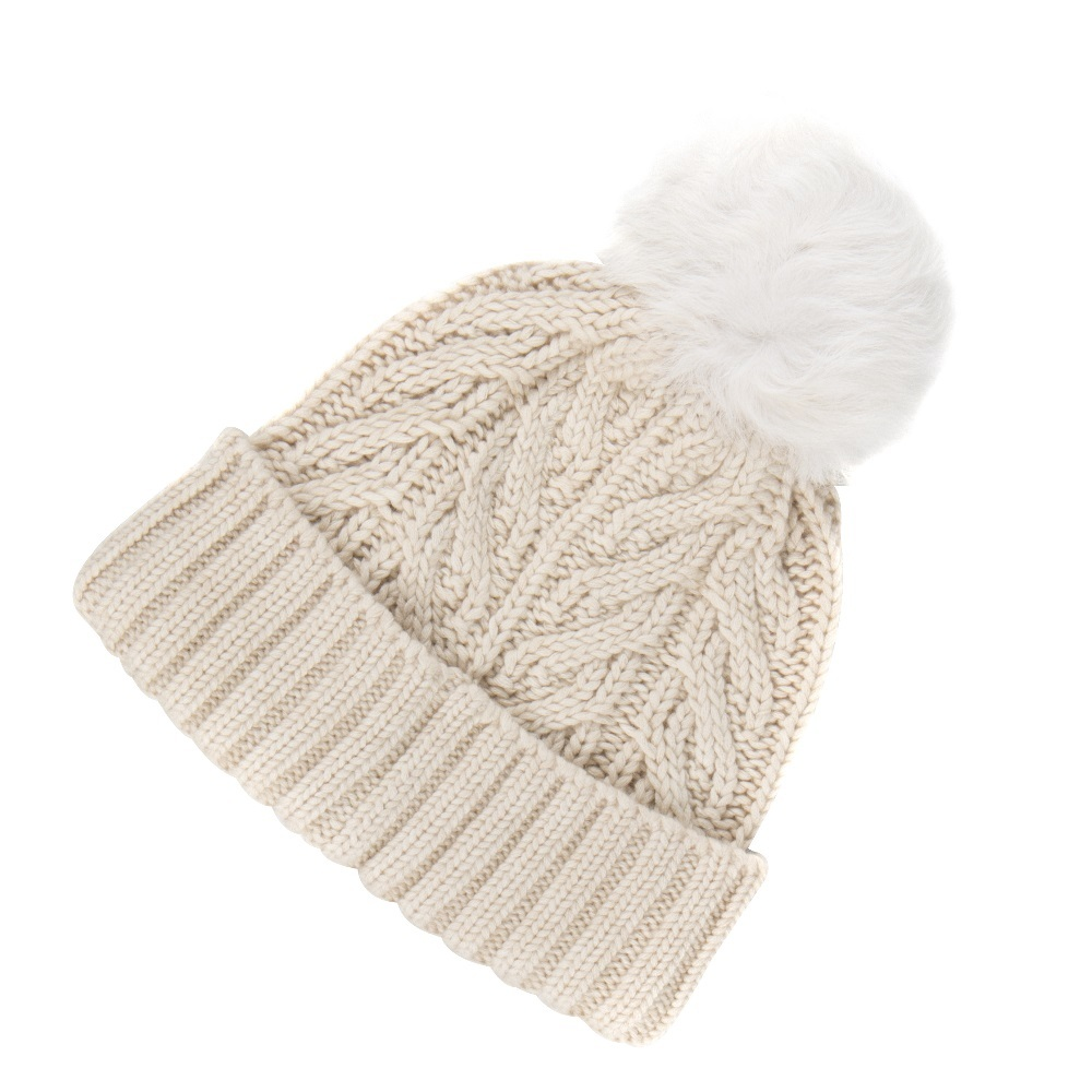 W CUFF HAT WITH POM
