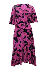 Print Long Wrap Dress