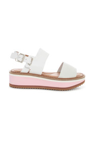 HIGH PLATFORM SANDALS WITH BELT ON ANKLE AND TWO BANDS