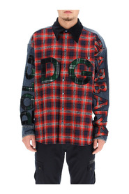 oversized denim and flannel shirt with logo