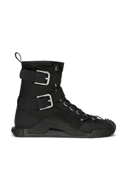 Rubberized calfskin and nylon NS1 high-top sneakers