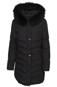 EVELYN DOWNJACKET BLACK/BLACK REAL FUR SAKI WINTER