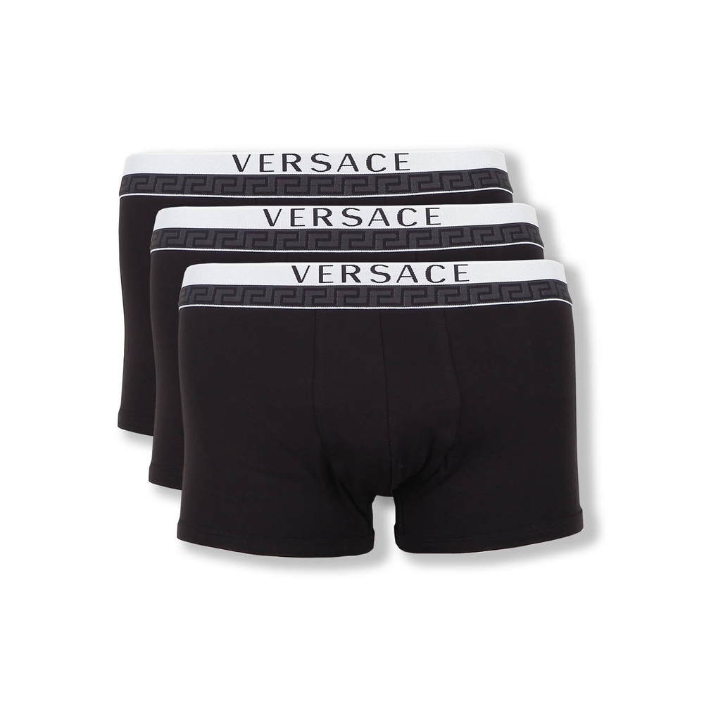 Triple Pack Black Versace Stretch Cotton Low Rise Trunk