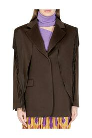 VIRGIN WOOL COAT WITH FRINGED DETAIL