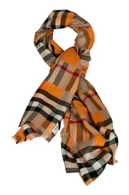 Checker-Printed Fringed Scarf