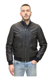 Inner quilted leather bomber