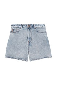 F5789 Classic Denim High-Waisted Shorts