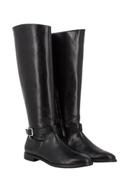 Black nappa boots with strap