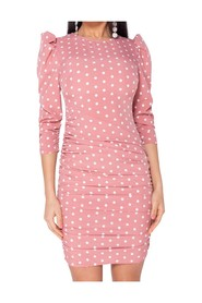 Polka Dot Puff Sleeve Ruching Detail Dress