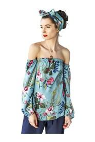 Bluzka w kwiaty z odsłoniętymi ramionami
